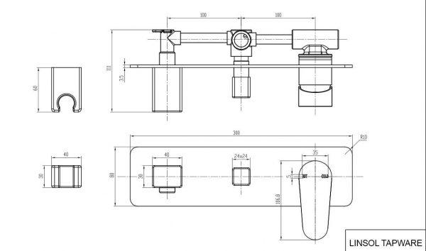 Avanti-wall-mixer-divertor-handshower-drawing