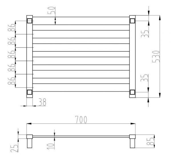 Fury-6-bar-heated-towel-rail-drawing