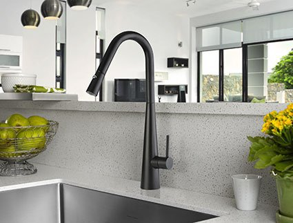 Aria pull down matt black sink mixer