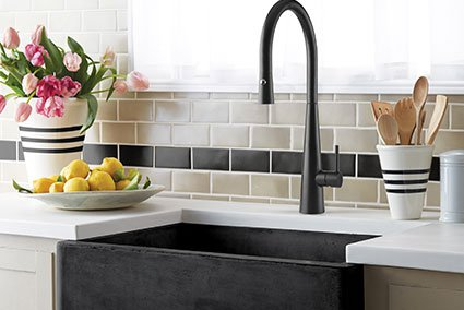 Giacomo pull down matt black sink mixer