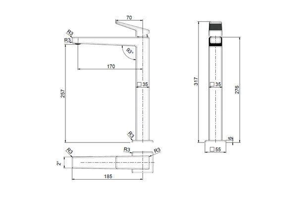 Madi Tall Basin Mixer Drawing