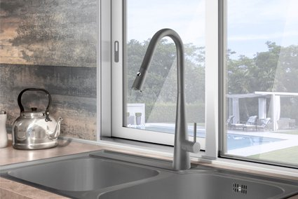Aria Pull Out Kitchen Mixer Grey Wolf