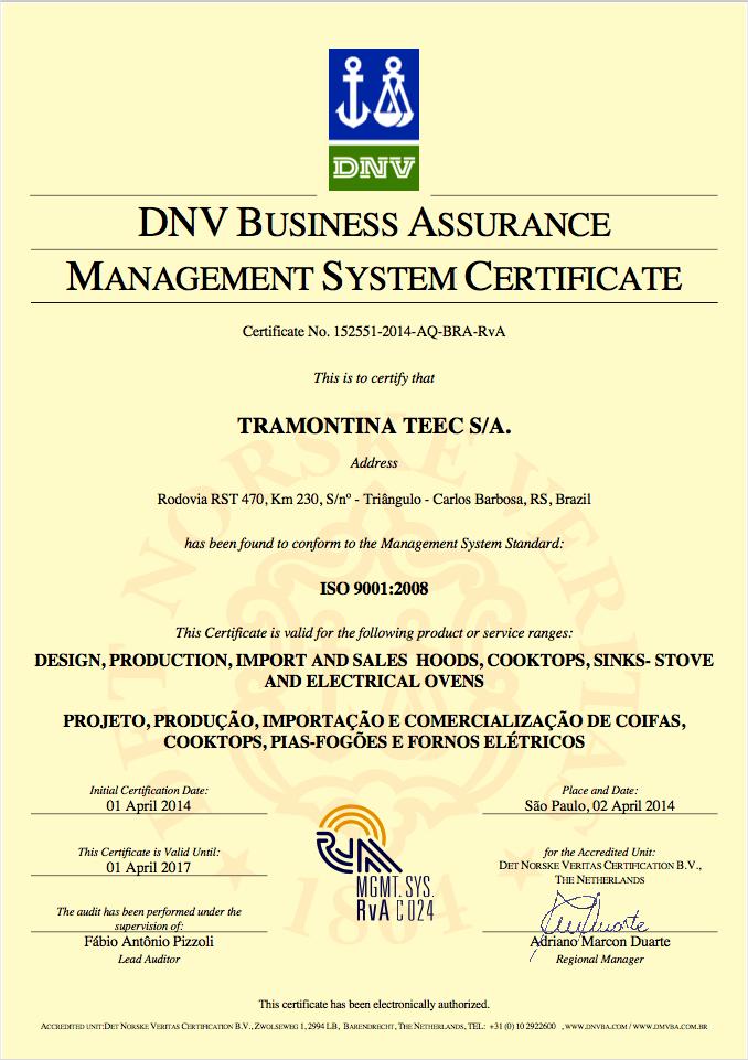 Tramontina ISO 9001 - DNV Business Assurance Management System ...