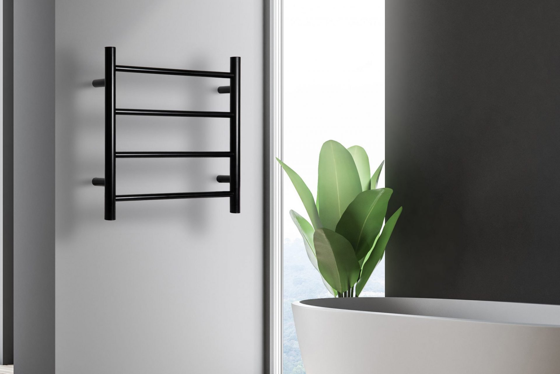 Allegra Matte Black Heated Towel Rail 4 Bar