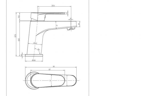 Avanti-basin-mixer-drawing