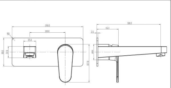 Avanti-wall-bath-mixer-drawing