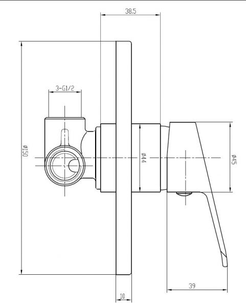 Banjo-bath-shower-mixer-loop-handle-drawing