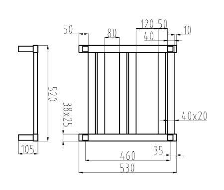 Siena-6-bar-heated-towel-rail-drawing