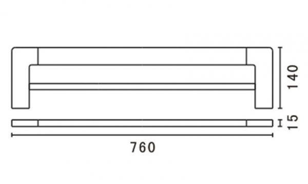 Tiana-double-towel-rail-760mm-drawing