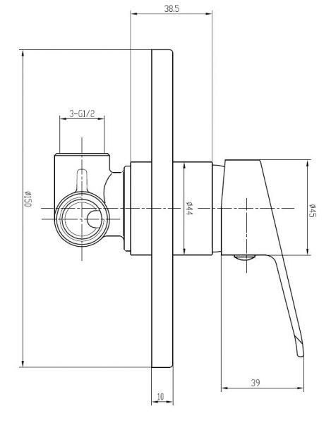 Banjo-bath-shower-mixer-solid-handle-drawing