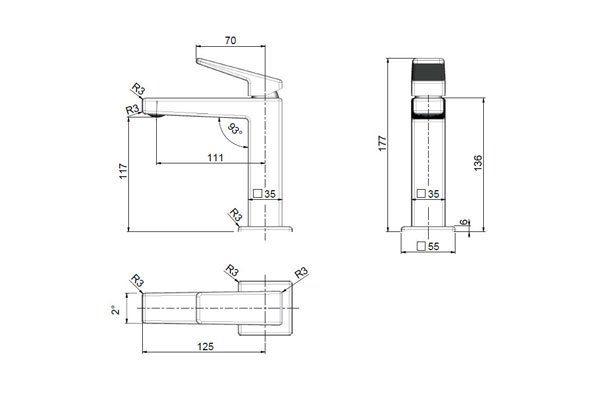 Madi Basin Mixer Drawing