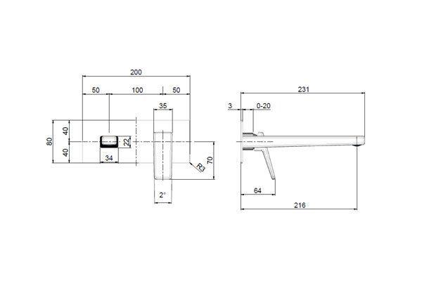 Madi Wall Basin Mixer Drawing
