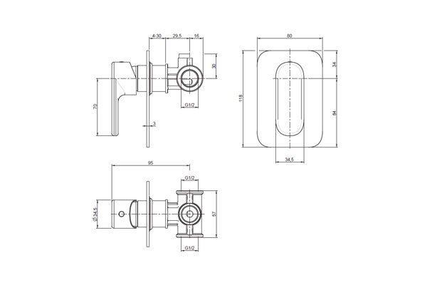 Valentino Bath/Shower Mixer Drawing