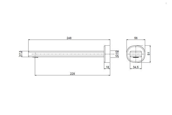 Valentino Bath Spout 220mm Drawing