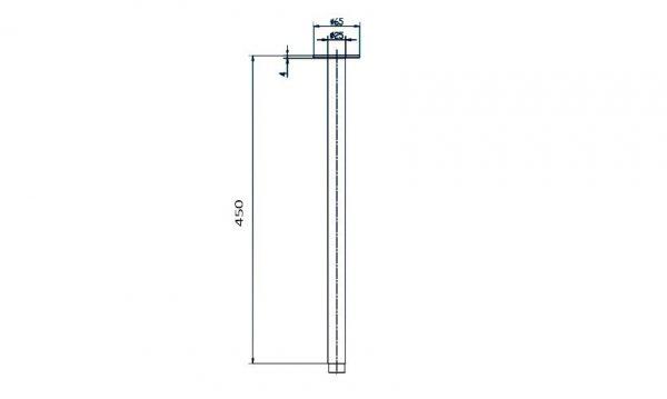 Linsol TIA-MB-062 matte black tiana-ceiling-arm-450mm-drawing