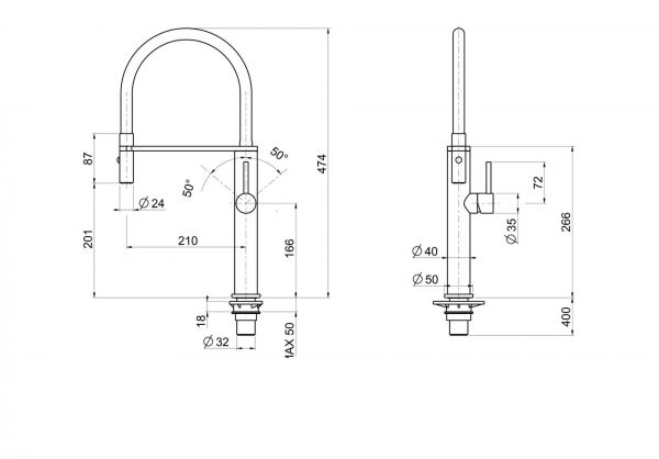 Linsol Luca Italian Sink Mixer LUC-01 line drawing