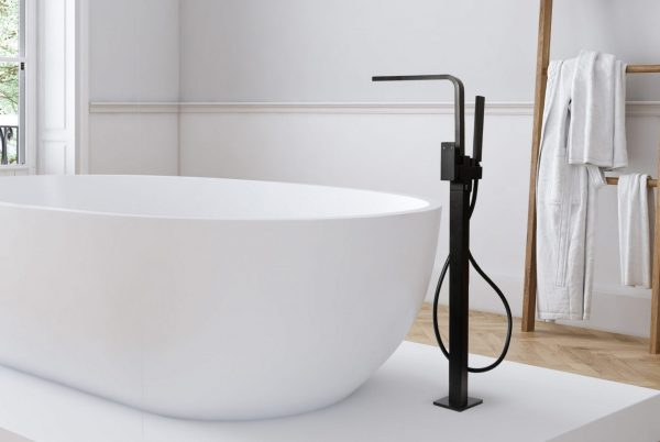 Linsol Alessia Matte Black Freestanding bath Filler ALES-MB-01 Lifestyle Image 547 x 366