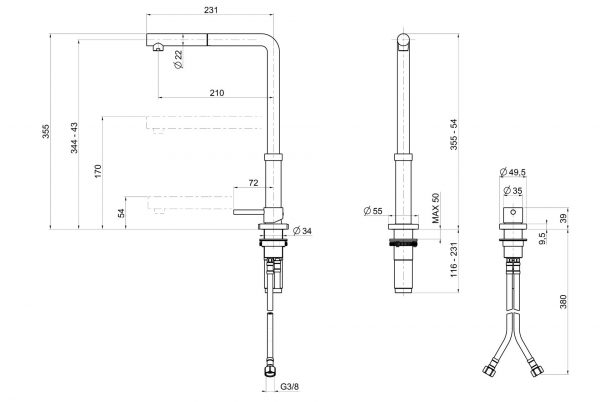 Linsol Domena Brushed Stainless Telescopic Sink MIxer DOMENA-01 line drawing 547x366
