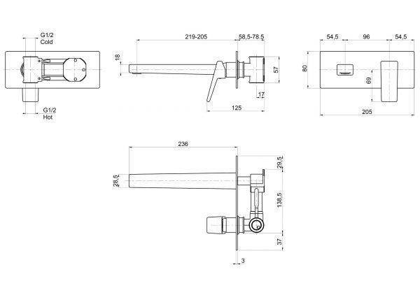Linsol Madi Wall Basin Mixer 547x366 MAD-09 line drawing