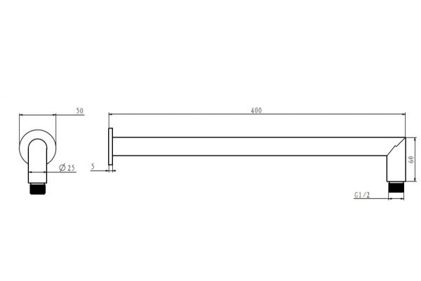 Linsol Corsica 400m Wall Arm Line Drawing