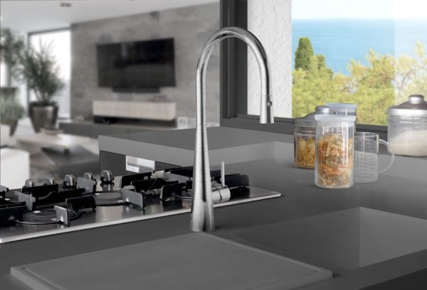 Linsol Giaacomo Brushed Nickel Pull Down Sink Mixer GIA-BN-01RE