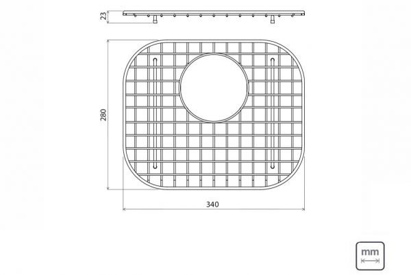 Linsol Maxi Cuba Wire Bottom Grid 94528-022 Line Drawing 547x366
