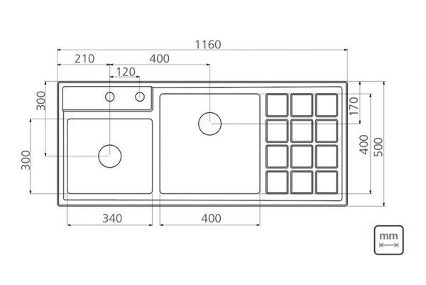 Linsol Quadrum 19L+34L+Tray 93920-103 Line Drawing 547x366