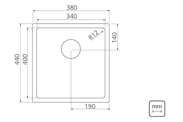 Linsol Quadrum 27L Sink 94004-103 Line Drawing 547x366
