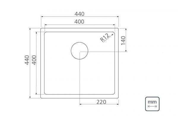 Linsol Quadrum 32L Sink 94005-103 Line Drawing 547x366