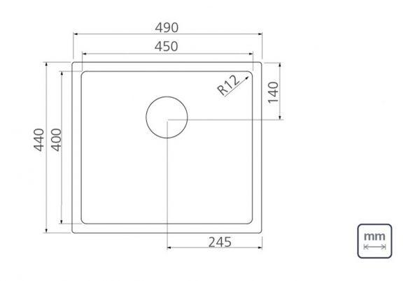 Linsol Quadrum 36L Sink 94006-103 Line Drawing 547x366