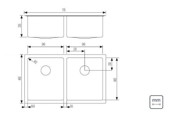 Linsol Quadrum 36Lx2 Sink 94009-103 Line Drawing 547x366