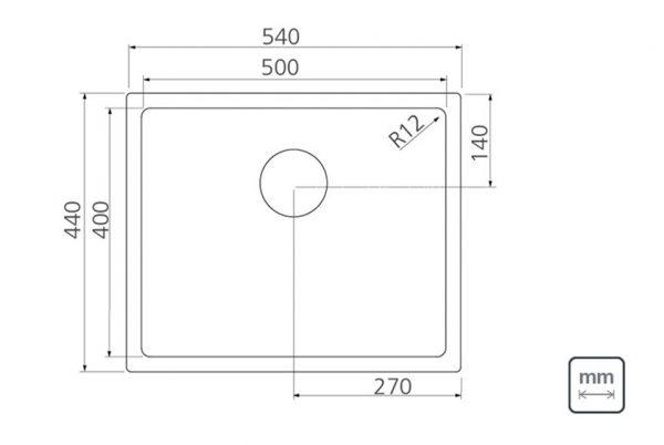 Linsol Quadrum 40L Sink 94007-103 Line Drawing 547x366