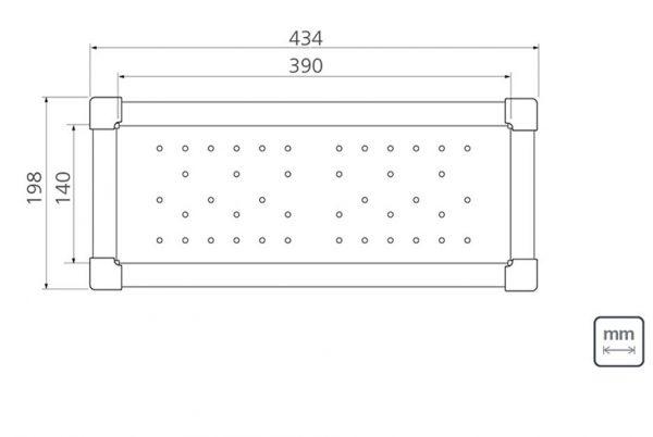 Linsol Quadrum Colander 94532-018 Line Drawing 547x366