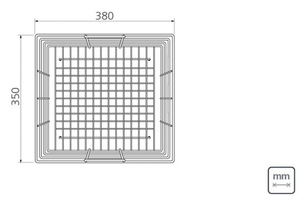 Linsol Quadrum Wire Basket 94528-029 Line Drawing 547x366