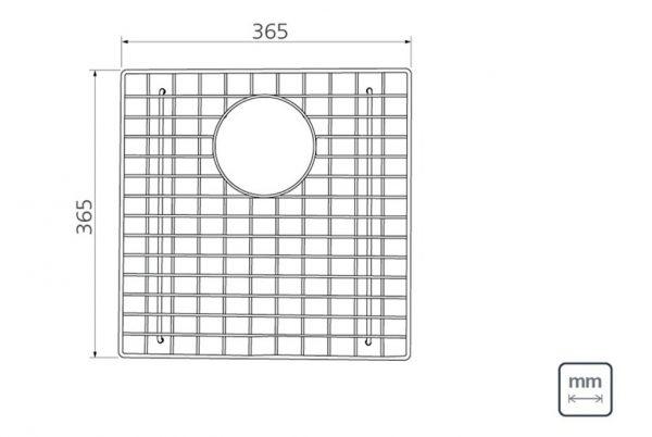 Linsol Quadrum Wire Bottom Grid 94528-028 Line Drawing 547x366