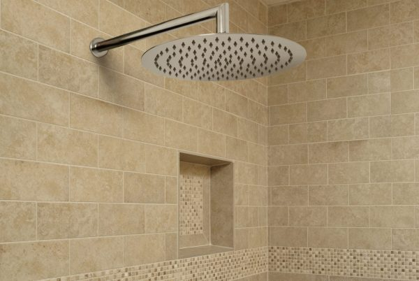 Linsol Brushed Nickel Force Shower Outlet and Corsica 400mm Wall Arm FOR-BN-035 and COR-042-BN Lifestyle 547x366