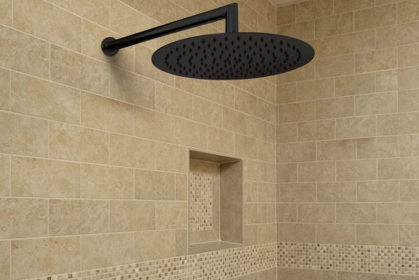 Linsol Matte Black Force Shower Outlet and Corsica 400mm Wall Arm FOR-MB-035 and COR-042-MB Lifestyle 547x366