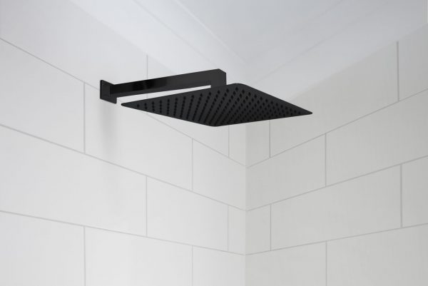Linsol Rush Matte Black Shower Outlet and Tiana 400mm Wall Arm TIA-042-MB and RUS-MB-035 Lifestyle 547x366