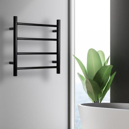Linsol Allegra 4 Bar Matte Black Heated Towel Rail JY-3340-MB Lifestyle Image square