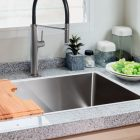 Linsol Quadrum 66L Single Bowl Sink 94000-105, Chopping board and Luca Grey Wolf Sink Mixer Lifestyle 1 547x366