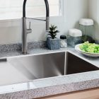 Linsol Quadrum 66L Single Bowl Sink 94000-105, Drainer tray and Luca Grey Wolf Sink Mixer Lifestyle 3 547x366
