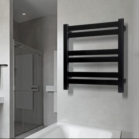 Linsol Siena Matte Black 6 Bar Heated Towel Rail JY-SQ-06-MB Lifestyle square